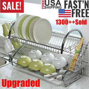 Large-Capacity-2-Tier-Dish-Drainer-Drying-Rack-Kitchen-Storage-Stainless-Steel
