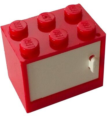 LEGO 453221+4532a CONTAINER,CUPBOARD 2X3X2-SOLID STUDS COLOR RED LOTX2