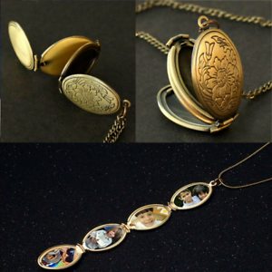 Expanding 4 Photo Picture Locket Necklace Oval Pendant Memorial Family Gift ded6