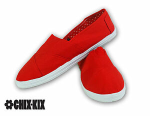 Womens Red Canvas Shoes Slip Ons Casual