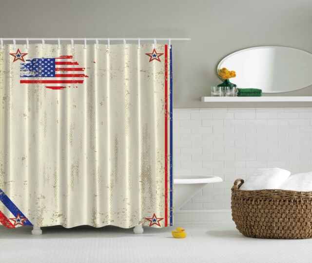 Americana Patriotic Rustic USA Flag Shower Curtain 4th July Stars Stripes Decor
