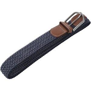 Hommes-Casual-Ceinture-toile-caoutchouc-elastique-ceinture-metal-boucle-ceinture