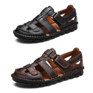 Men's Cow Leather Sandals Closed Toe