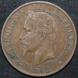 1862-A-France-5-Centimes-Bronze-Coins-KM-Coins