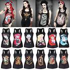 Women's Princess Tattoo Gothic Punk Vest Tank Top Sleeveless T-Shirt Blouse TEE