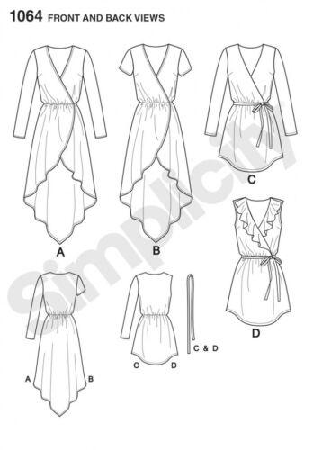 Simplicity Ladies Easy Sewing Pattern 1064 Tunic Tops /& Tie Belt Simplic...