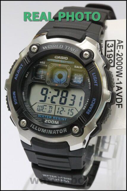 AE-2000W-1A Original Casio Men's Watch Standard Digital Black 200m Water Resista