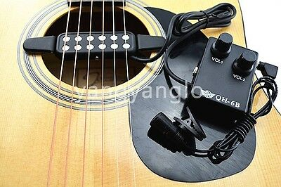 QH-6B Acoustic Guitar Pickup Wire Amplifier+Microphone Volume Control Box Pickup