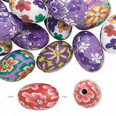 Flower Beads Polymer Clay 10x5mm Oval Jewelry Lot of 30