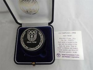 ISRAEL-1984-LOS-ANGELES-OLYMPICS-GAMES-STATE-MEDAL-37mm-26g-SILVER-COA-BOX