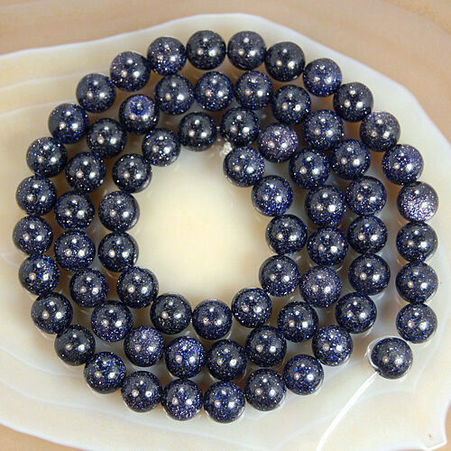 """15.5/"""" Wholesale Blue Sand Stone Round Spacer Loose Beads Smooth 4 6 8 10 12mm"""