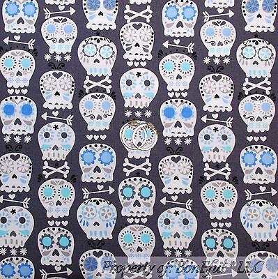 BonEful FABRIC FQ Cotton Quilt Gray Blue Skull Head Flower Hippie Gothic