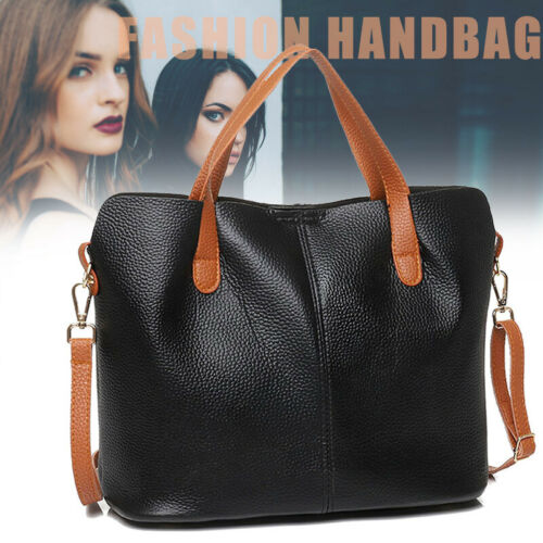 2 in 1 Women PU Leather Shopping Tote Bag Large Shoulder Bags Crossbody Bag