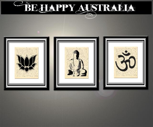 BUDDHA NAMASTE SET OF 3 PRINTS ON STRETCHED CANVAS each print 40cmx50cmx4cm