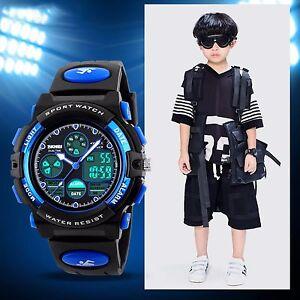 SKMEI-Waterproof-Child-Boy-039-s-Sport-Stopwatch-LED-Digital-Date-Kids-Wrist-Watch