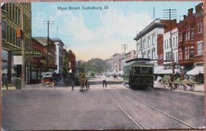 Galesburg-IL-1912-Postcard-Main-Street-Downtown-Illinois-Ill