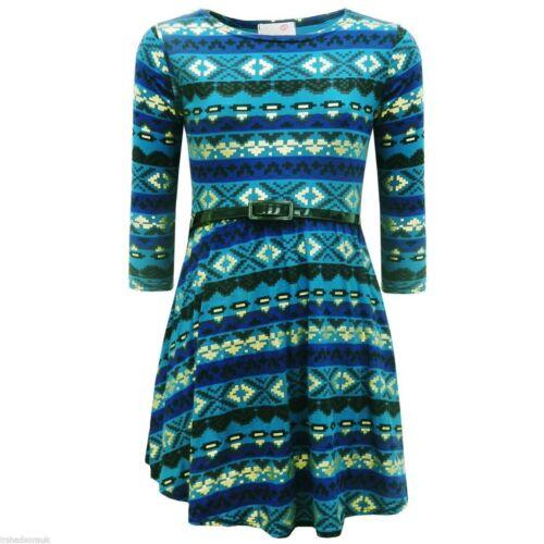 KIDS GIRLS NEW SEASON AZTEC TRIBAL FOIL PRINT SKATER DRESS 3//4 SLEEVES 7-13 Yrs