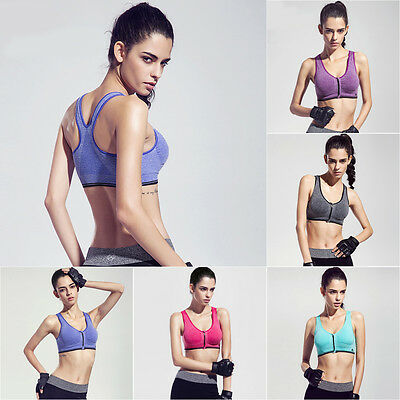 New Sports Yoga Zipper Bra Crop Top Vest Comfort Stretch Seamless Bras Padded
