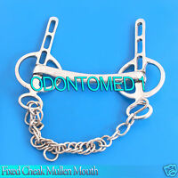 Fixed Cheek Mullen Mouth Liverpool Driving Bit 4'' With Chain, Bt-0098