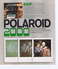 PUBLICITE ADVERTISING 094 1975 POLAROID 2000 photos instantanées couleur SX-70