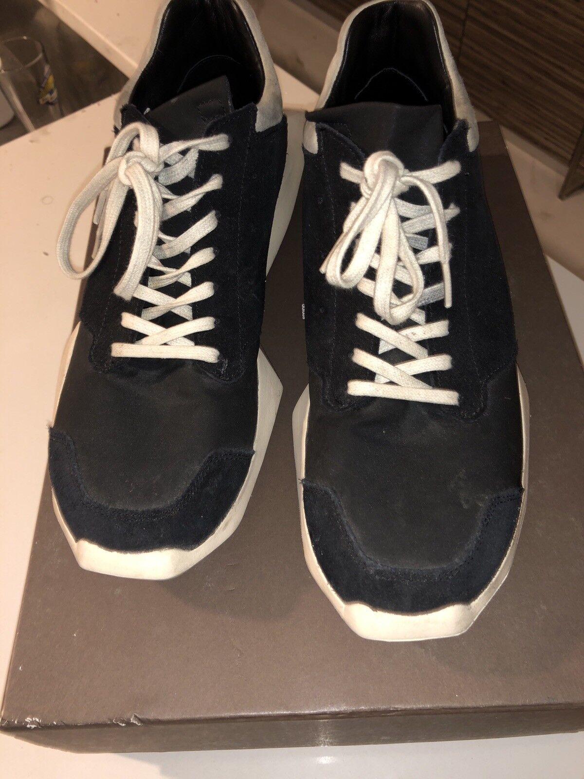 100% Adidas Rick Owens Tech Runner Black & White US 9.5