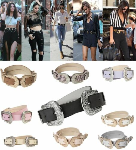 INSPIRED BY CELEBRITY WOMENS NEW WESTERN DOUBLE BUCKLE FAUX LEATHER BELT