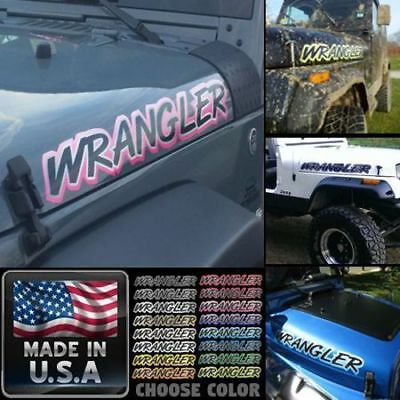 PICK COLOR 2pc set Jeep Wrangler Hood stickers decals yj tj jk mj rubicon