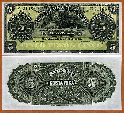 COSTA RICA 5 PESOS 1899 P S163r UNC