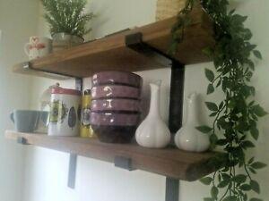 Shelf - Industrial Old Rustic Wood Scaffold Timber Board Shelves
