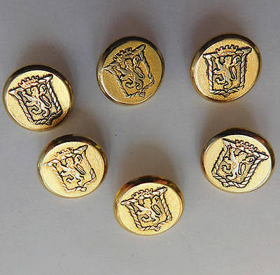 "6 metal buttons Heraldic crest shield coat of arms Lion crown 5/8"" (15 mm) gold"