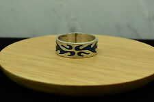 925 STERLING SILVER FIRE DESIGN BLUE ENAMEL RING BAND SZ 10.5 #13401
