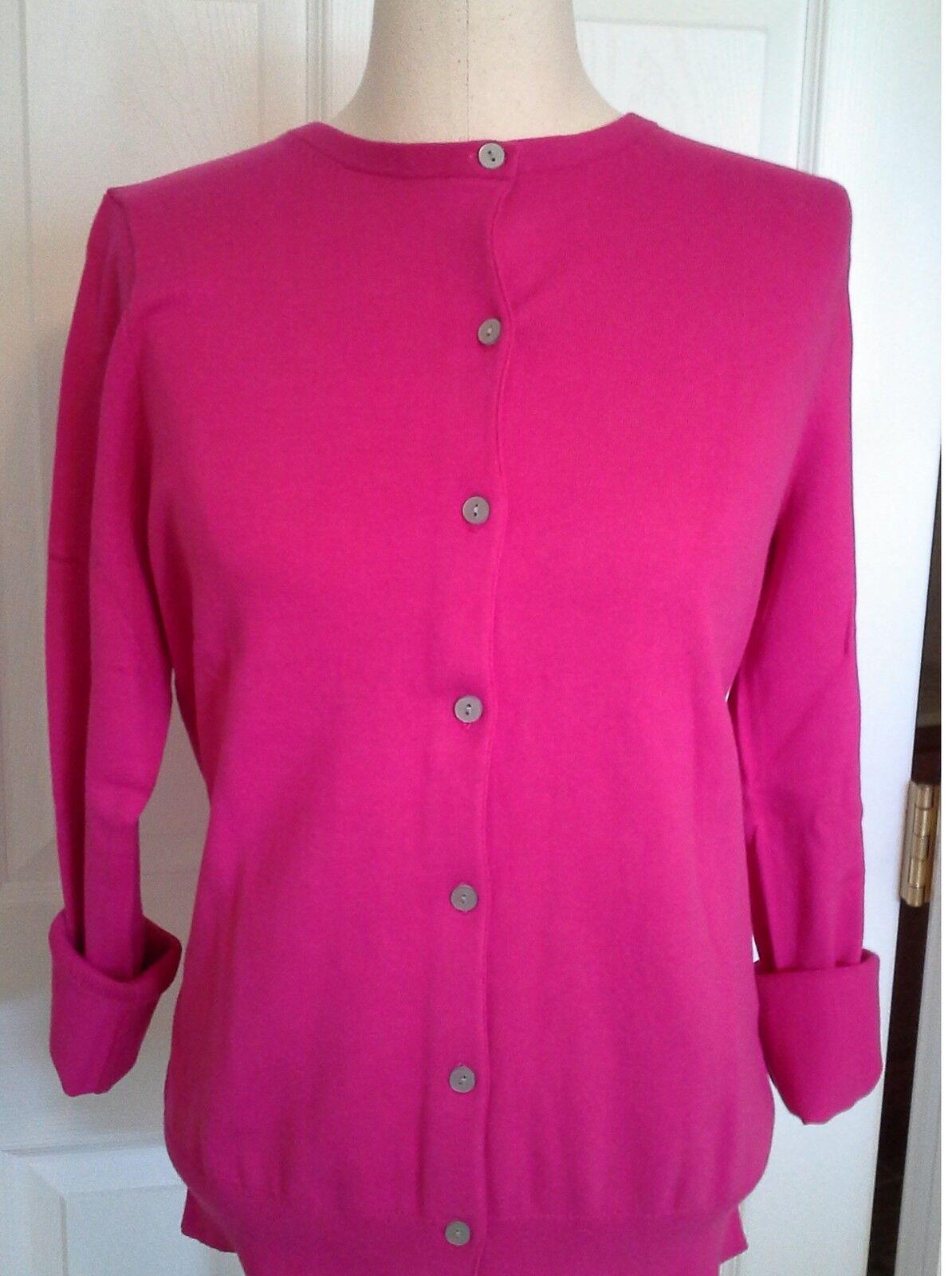 Lands End  Women's LS Supima Crew Cardigan Sweater Brilliant Fuchsia New