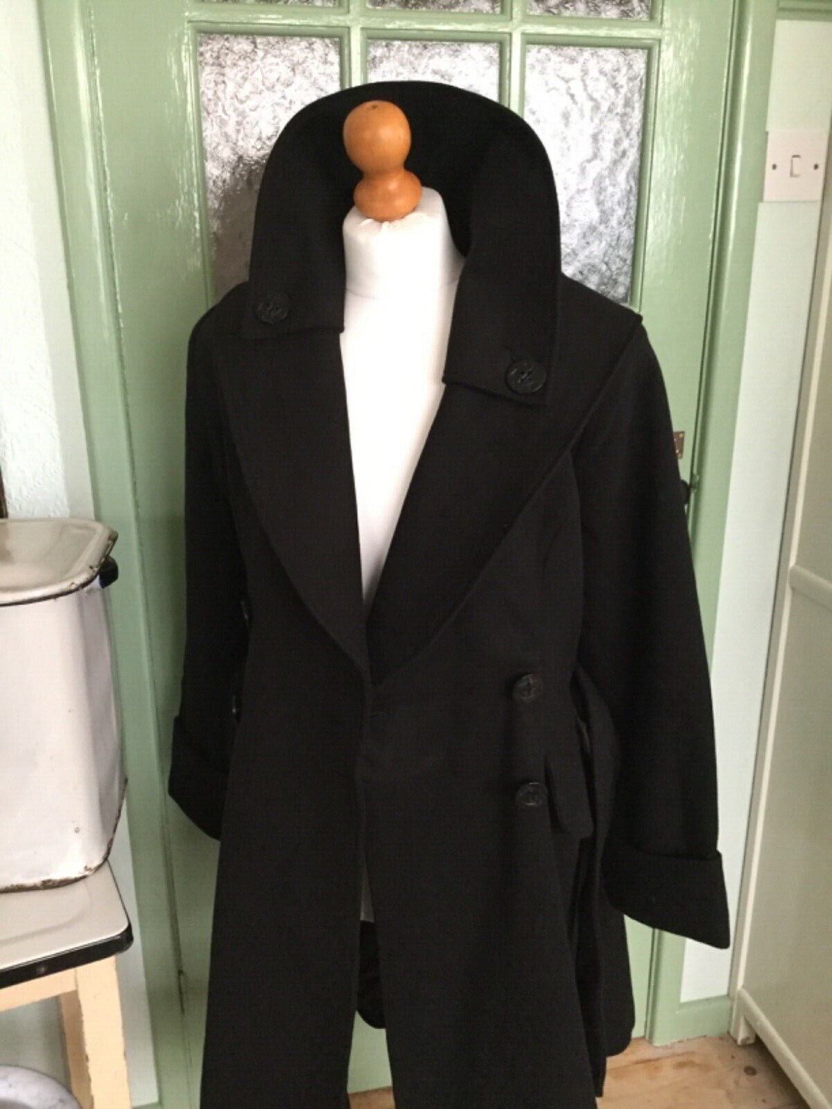 Hell Bunny Olga 3/4 coat.BLACK , small. belted,feature buttons