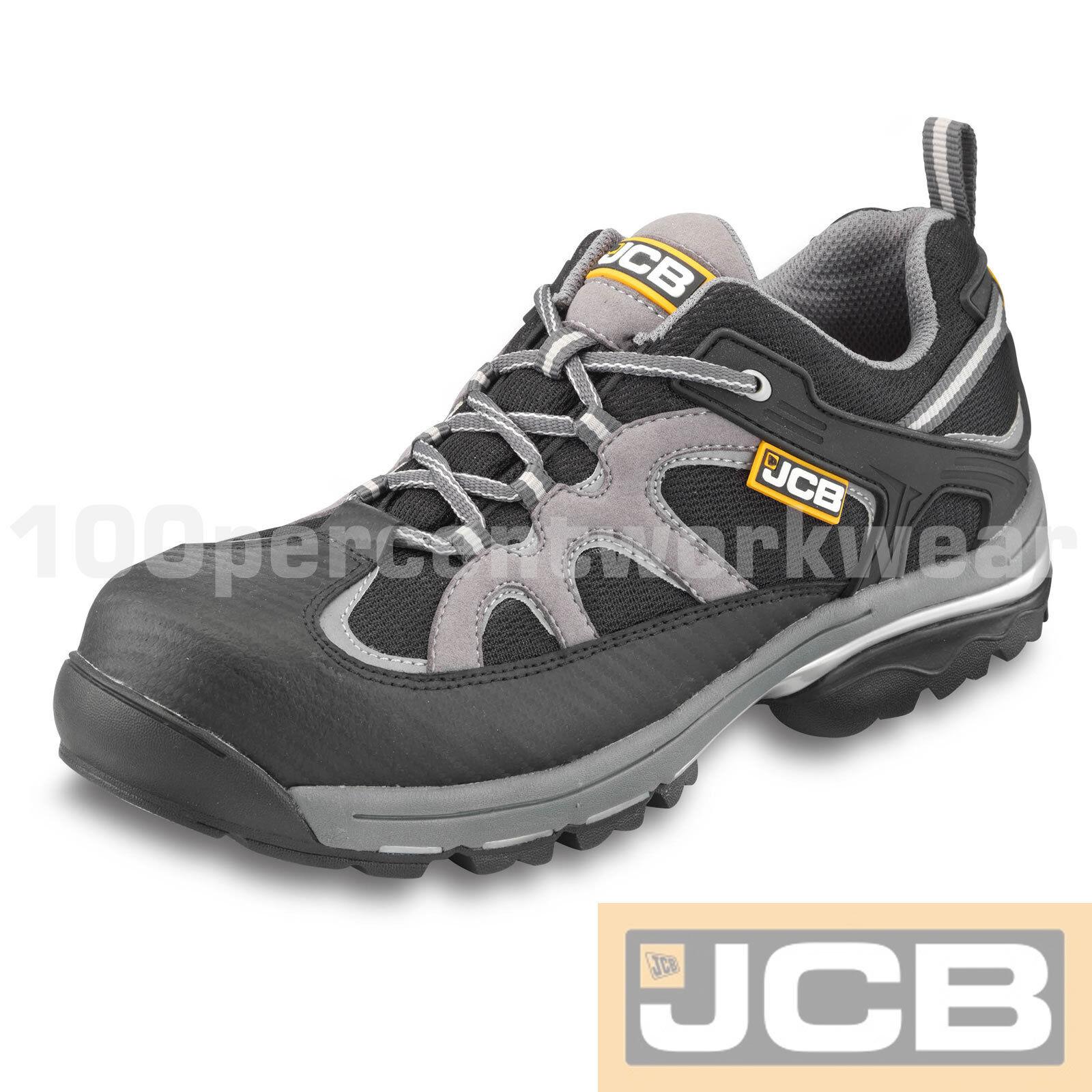 JCB traklow Negro gris Zapatillas Zapatos De Seguridad De Trabajo Puntera Composite mediados Suela Nuevo