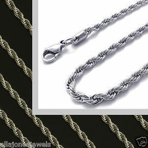 Stainless-Steel-18-034-to-36-034-Long-Mens-Chain-Womens-Rope-Necklace-2-4mm-Wide-New