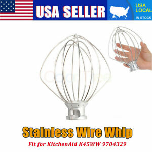 6-Wire Whisk Whip Beater Attachment Fits KitchenAid K45WW Tilt-Head Stand Mixer