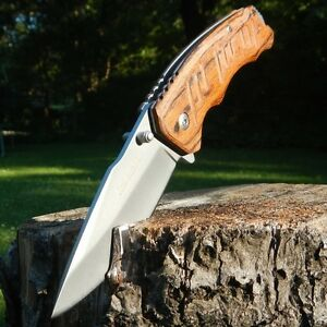 8-034-TAC-FORCE-SPRING-ASSISTED-WOOD-FOLDING-POCKET-KNIFE-Blade-Tactical-Switch