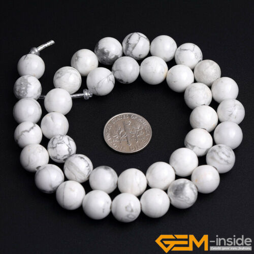 Natural White Howlite Stone Round Loose Beads Jewelry Big Hole 6mm 8mm 10mm 12mm