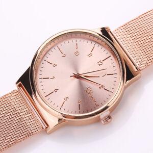 Fashion-Damen-Classic-Gold-Quarz-Edelstahl-Armbanduhr