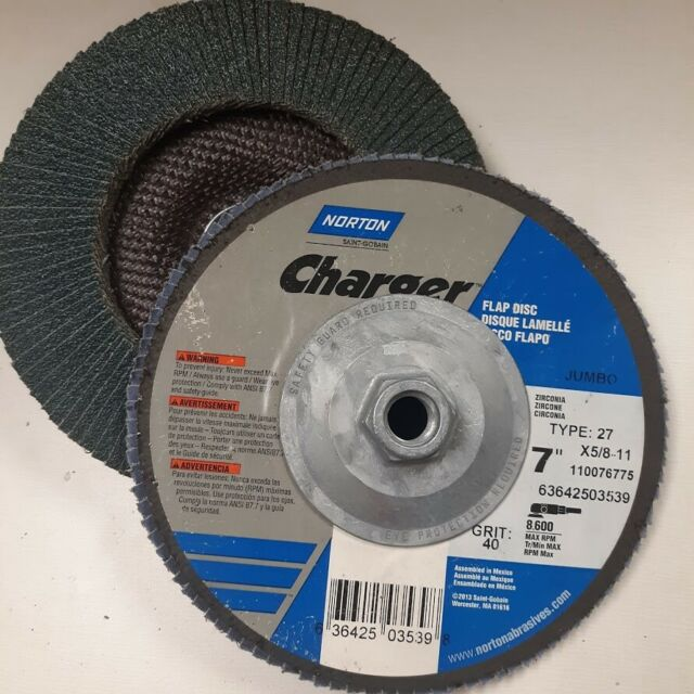 """7/"""" x 5//8-11 40 grit, qty 2, unused Type 27 Norton Charger Flap Disc Jumbo"""