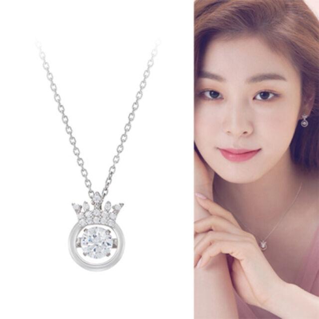 J Estina Mioello Rhodium Plated Sterling Silver Dancing Stone Necklace C Z White