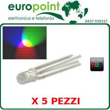5 x Led diodo RGB 5mm 4pin catodo comune trasparente alta luminosità MULTICOLORE