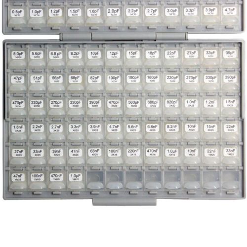 SMT SMD 0402 capacitor kit 75 values x 50 pcs distributed in BOX-ALL 5p 1uF X7R
