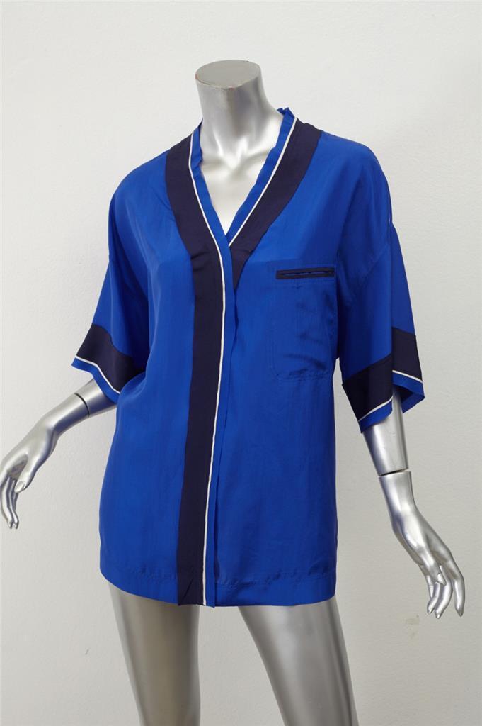 LANVIN Damenschuhe Blau Silk OverGrößed Short-Sleeve Button-Down Blouse Top 36/4 NEW