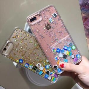 premium selection fbc17 e8545 Details about Funny APP Dynamic Quicksand Glitter Liquid Case Cover For  iPhone XS Max XR 7 8+