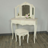 Cream Wood Dressing Table Set Mirror Stool Shabby French Chic Vanity Bedroom