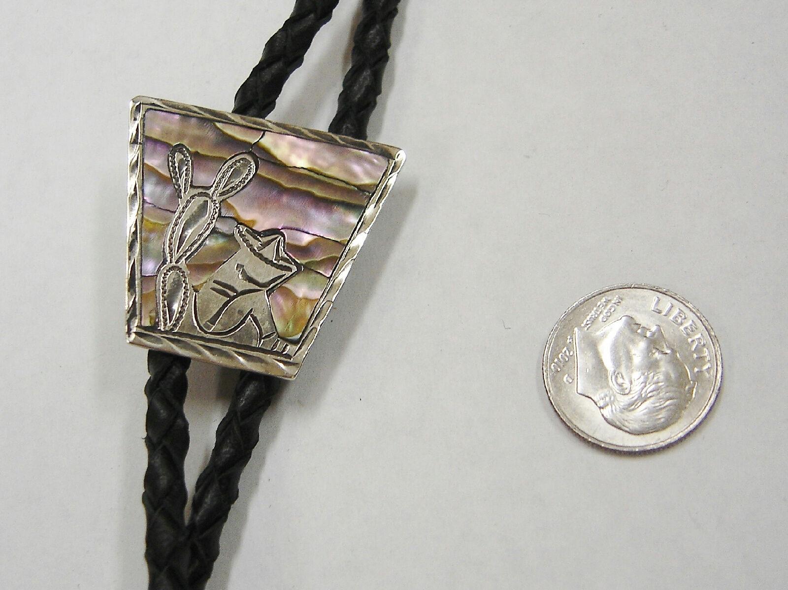 Sudest Scene Abalone argentoo argentoo argentoo Sterling Nero in pelle Bolo Cravatta N197-n 26c401