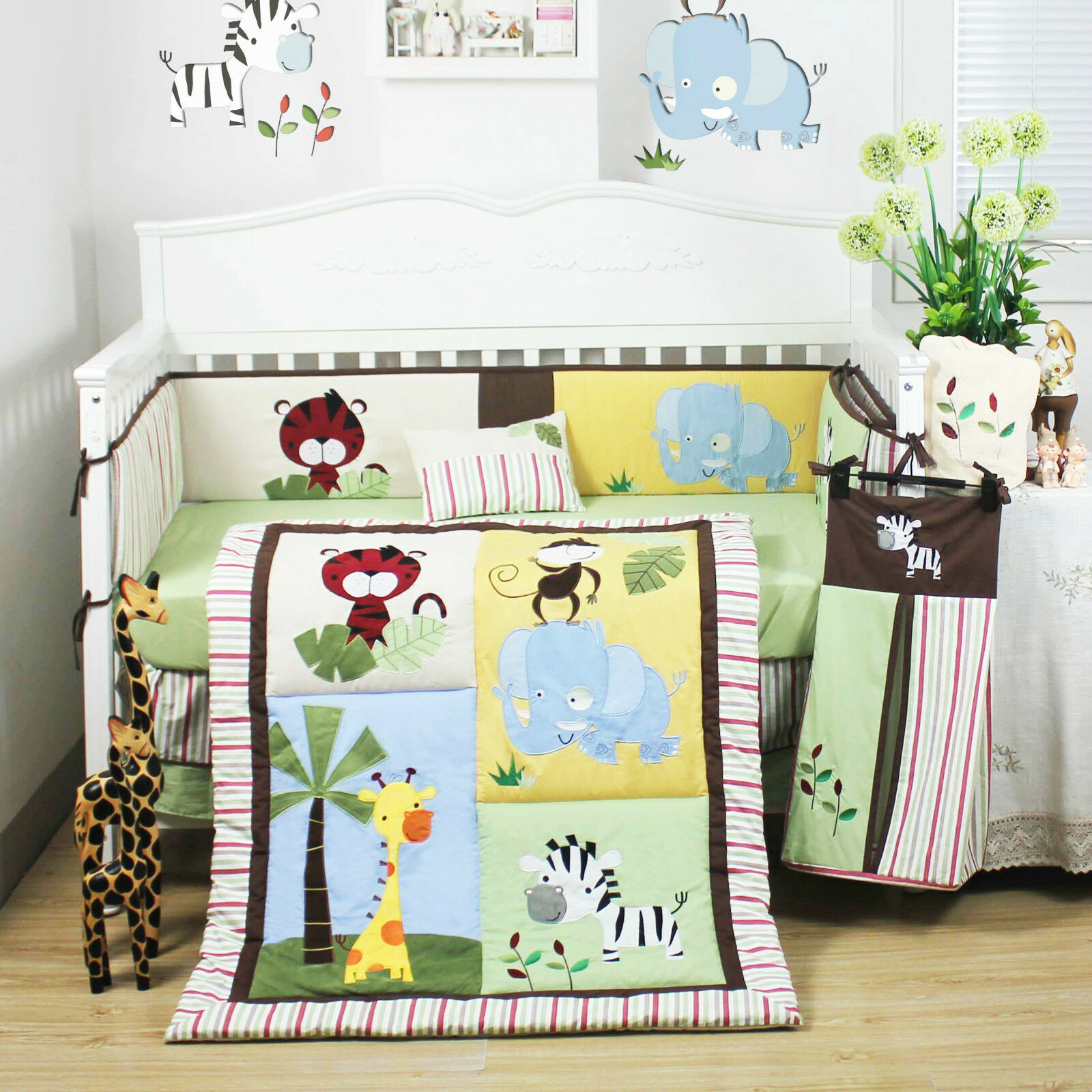 20 Beautiful Baby Boy Nursery Room Design Ideas Full Of: 8 Pcs Beautiful Jungle Animal Baby Boy's Crib Cot Bedding