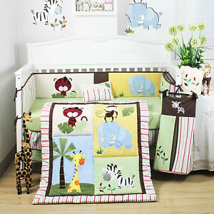 Pcs beautiful jungle animal baby boy 039 s crib cot bedding quilt