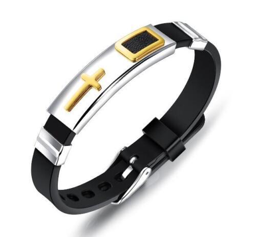 Leather Silicone Design Simple en acier inoxydable Bracelet croix ID Bracelet Homme